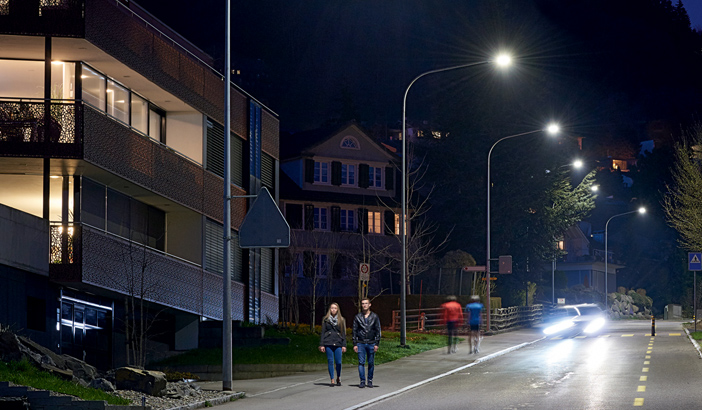 Residential street lighting in the City of Gaiserwald - Automatic street light control and dimming