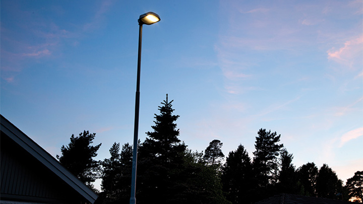 Closer look of a pole luminaire at Enköping, Sweeden