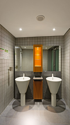The bathrooms at Provinzial Rheinland Versicherung AG illuminated using StyliD Mini LED-integral spotlights