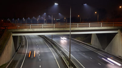 A5 highway, Tamworth illuminated by Philips LED lighting