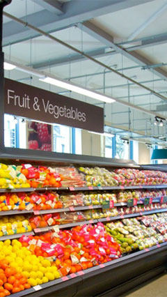 Fruits and vegetables look fresh with Philips supermarket lighting