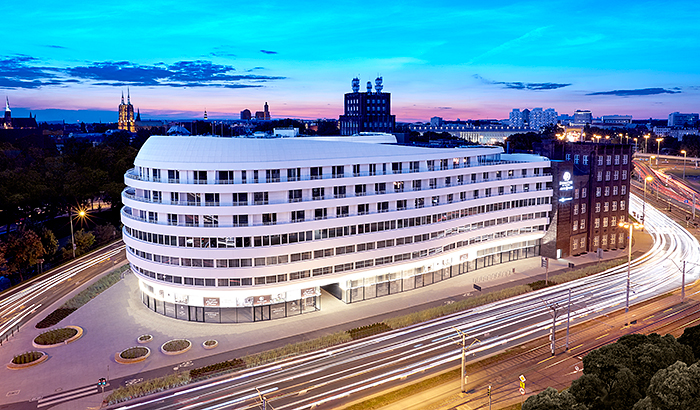 Large dynamic LED lighting project for prestigious apartment and hotel complex in Wrocław Poland