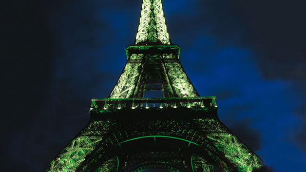 Eiffel tower illuminated with Philips Architainment lighting