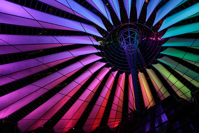 The ceiling of Sony Center at Berlin, Germany well-lit with Philips LED floodlighting fixtures