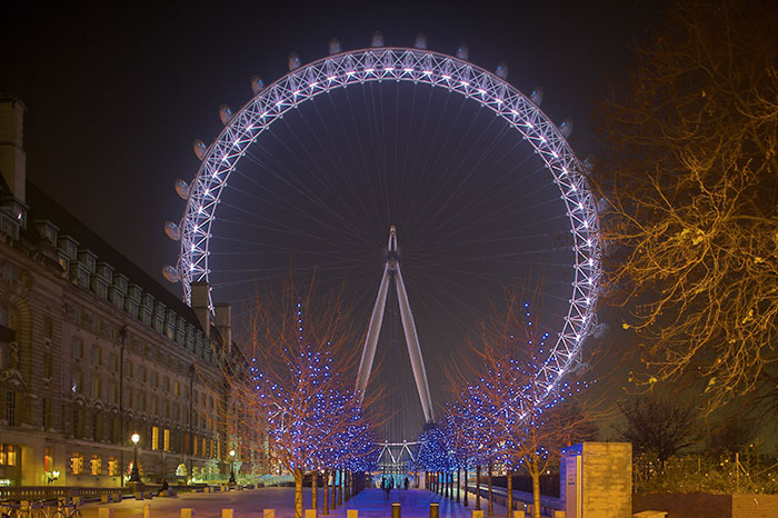 London Eye at London, United Kingdom illuminated by Philips Lighting and Architainment Lighting Ltd