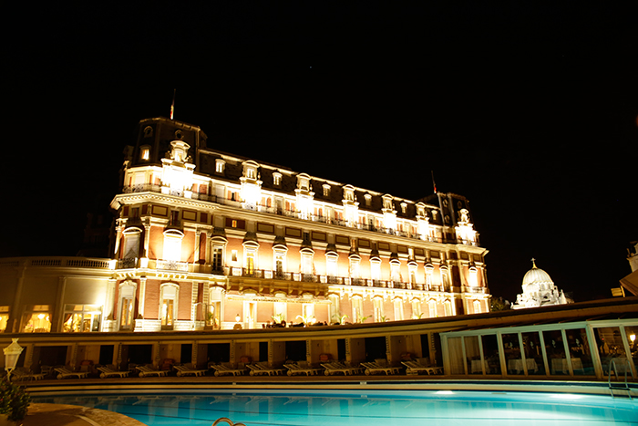 View of Hôtel du Palais illuminated by Philips Lighting and Axente