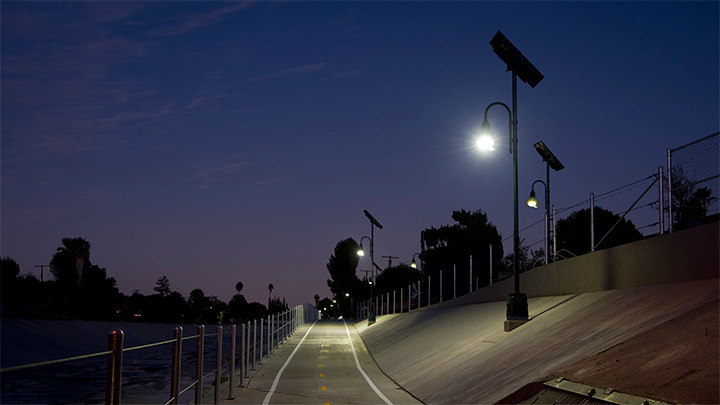 Philips Hadco Solar Pathway Lighting on the LA River Greenway