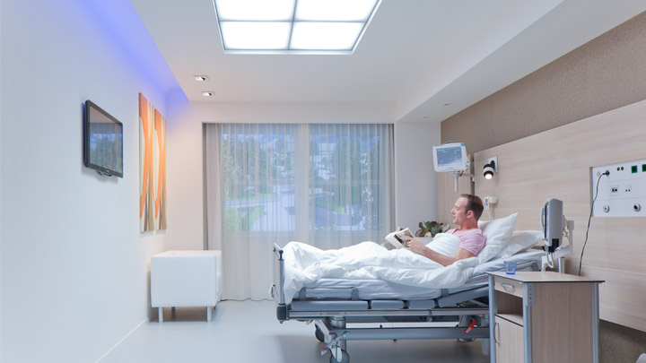 Philips Lighting's HealWell is a complete patient room lighting system that improves the patient experience