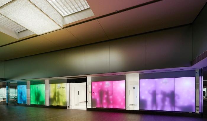Luminous Textile Panels glow in rainbow hues at Gallery Toto, Narita Airport, Japan