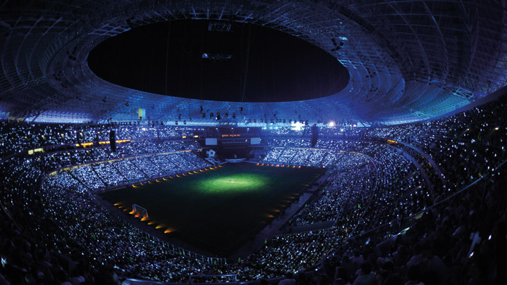 Football stadium under lights - arena experience