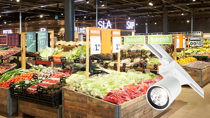 Flexible lighting solution for supermarket aisles - StyliD Evo