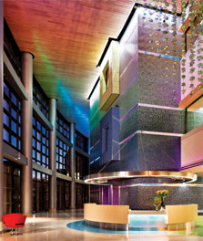 Bright and colorfully lit welcoming reception area - hospital reception lights